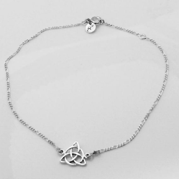 Peter Stone Jewelry Triquetra Anklet 925 Sterling Silver Trinity